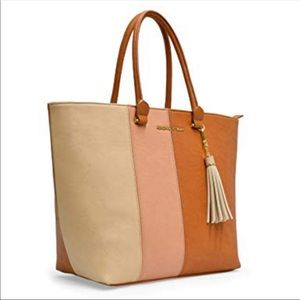 Adrienne Vittadini Strip Smooth PU Collection Tote